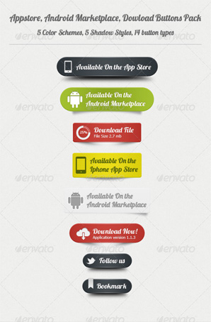 Appstore, Android, Download Buttons Pack